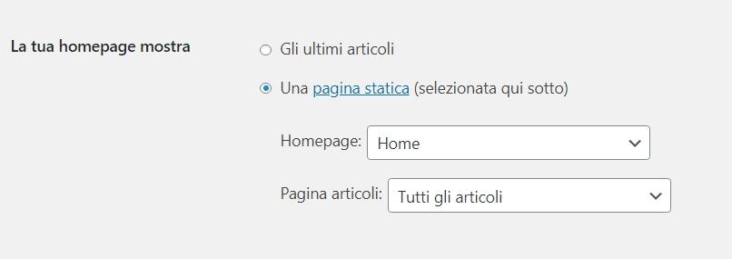 Impostazioni pagine a articoli in WordPress
