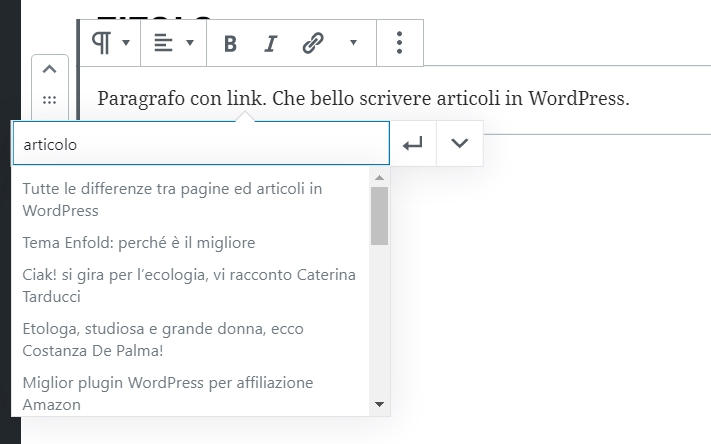 creare un link in WordPress