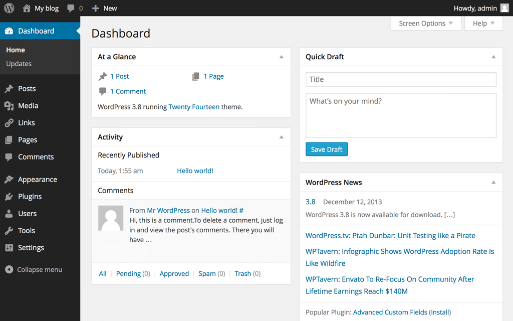 dashboard di wordpress