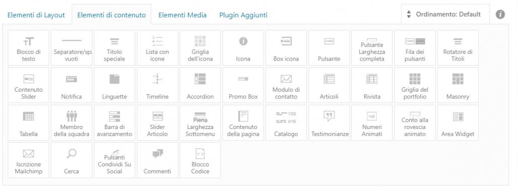 elementi di contenuto avia layout builder