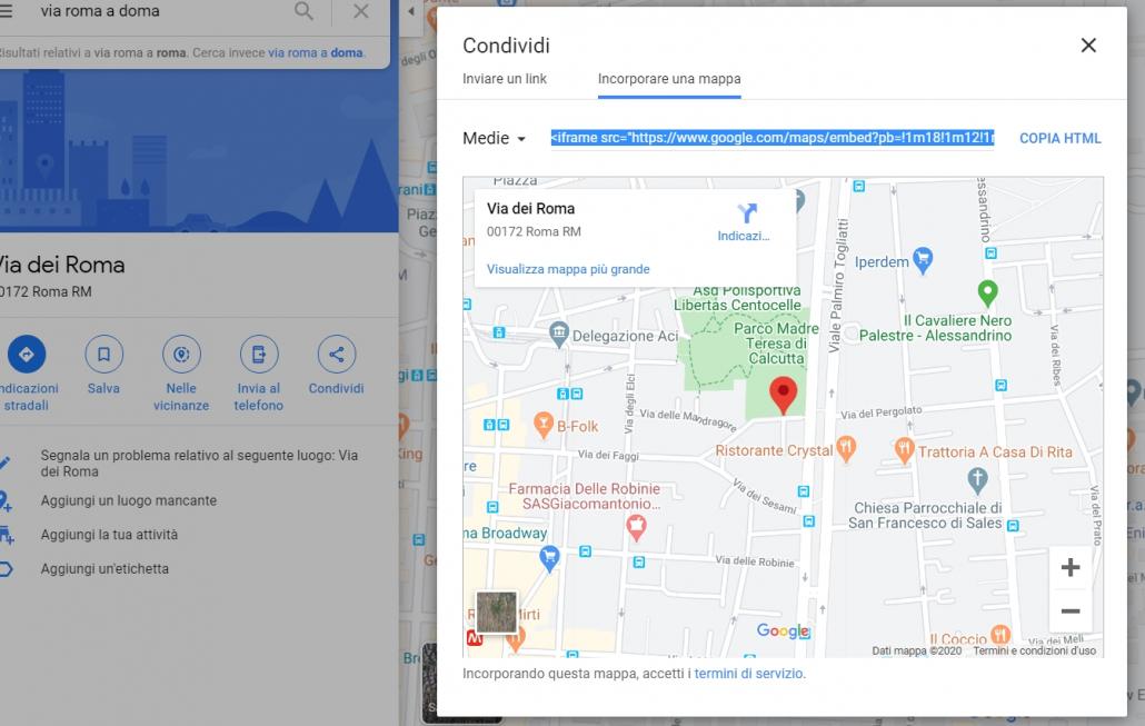 inserire una mappa di Google in articolo WordPress