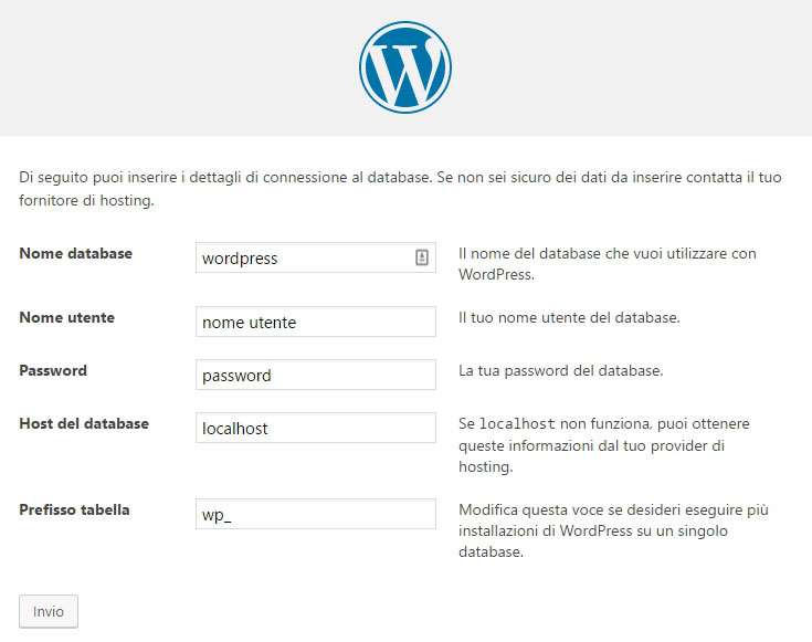 installazione wordpress manuale
