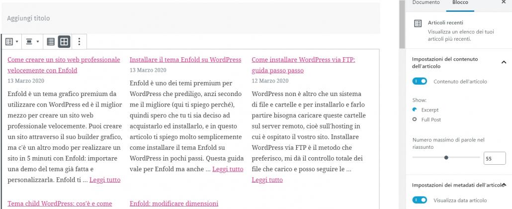 widget articoli recenti wordpress